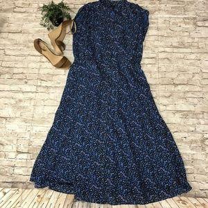 ANN TAYLOR Blue Floral Sleeveless Dress SZ 12T